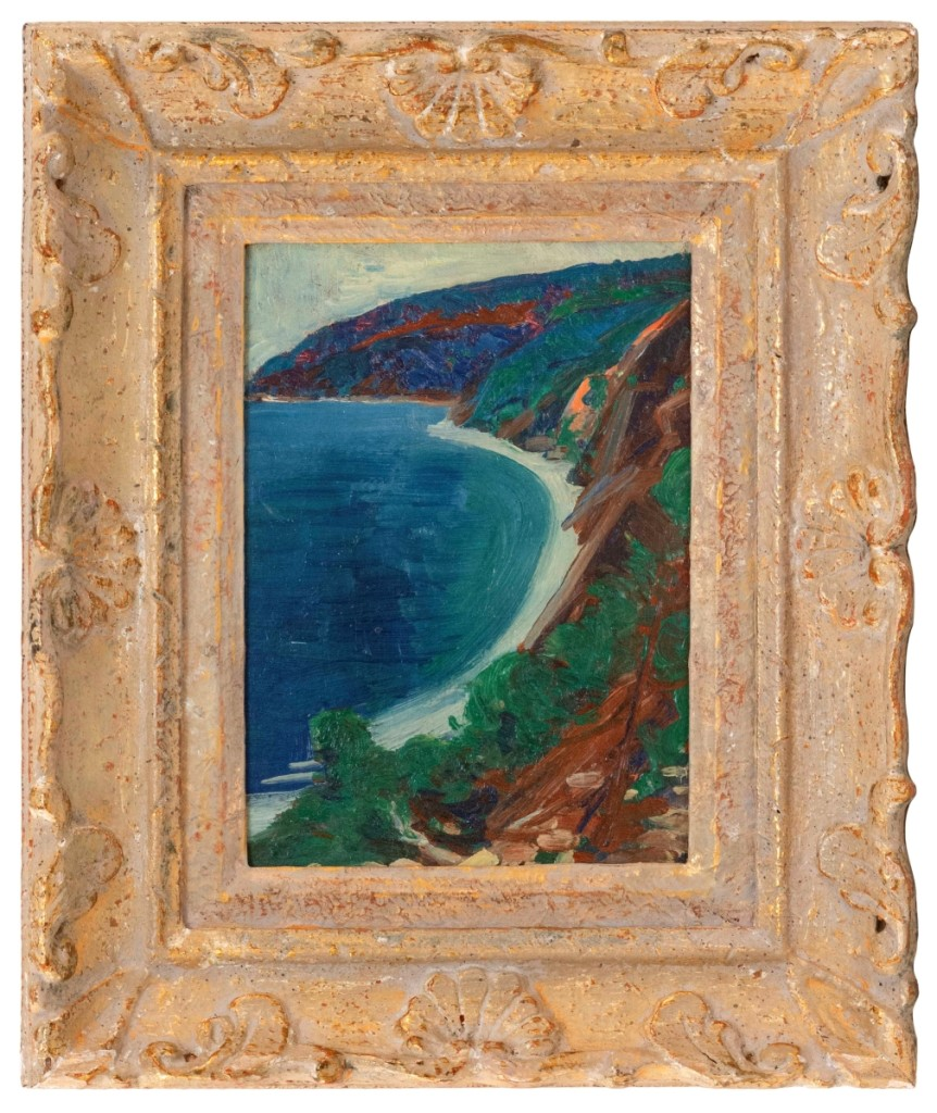 The top price in the first of two sessions of Eldred's fall sale was this Study of Gattieres, France by Marsden Hartley (1877-1843), which sold to a private collector for $14,400 ($15/20,000).