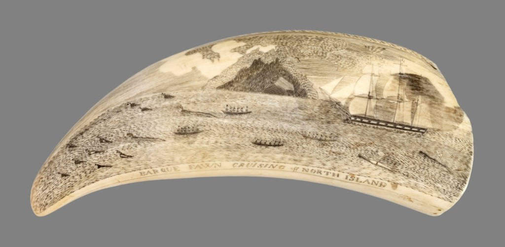 One of the leading lots in the marine sale was this whale's tooth that depicted the whaling barque Fawn cruising off North Island. It sold to a private collector on the telephone for $66,000 ($60/80,000).
