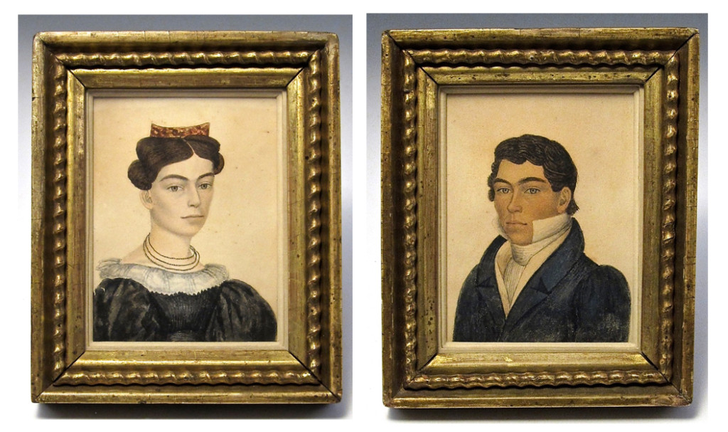 Sally Wetherbee Adams and Joseph S. Adams, attributed to Rufus Porter, circa 1833. Watercolor and graphite. Private collection.