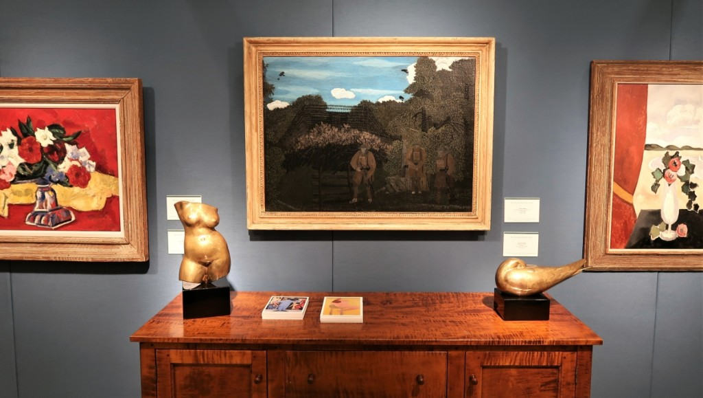 """""""Gas Alarm Outpost, Argonne"""" by Horace Pippin, 1931, oil on fabric. Right and left are works Marsden Hartley. Alexandre Gallery, New York City."""