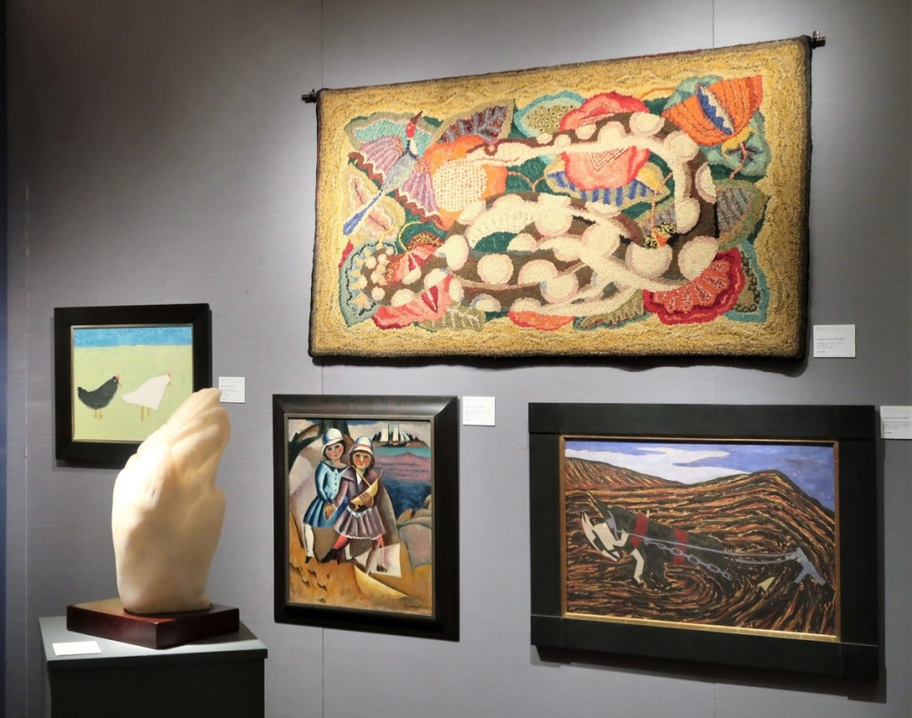 """At Debra Force Fine Art, """"The Snake and the Bird,"""" a 1937 hooked rug by Marguerite Zorach, $135,000. """"Fishermen's Children,"""" a 1919 oil by her husband, William, below left, $245,000. Robert Laurent's carved alabaster bust """"La Toilette,"""" circa 1940, was $110,000."""