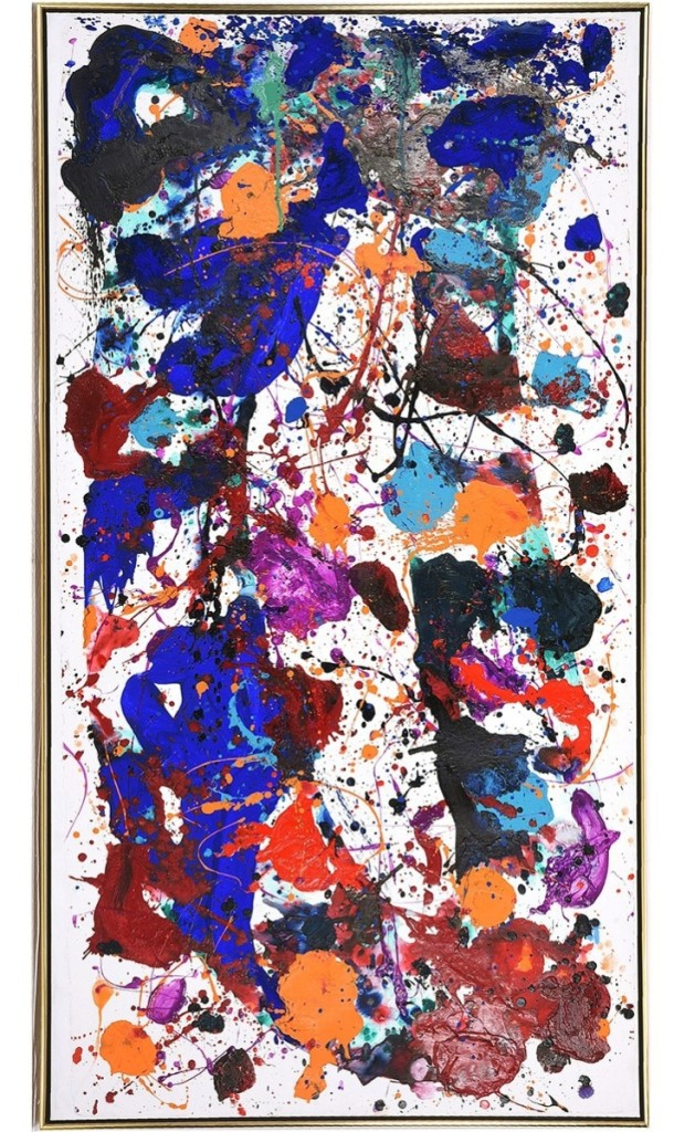 From a group of California artists whose work shone brightly, this Sam Francis (1923-1994) untitled large acrylic work sold at $132,000.