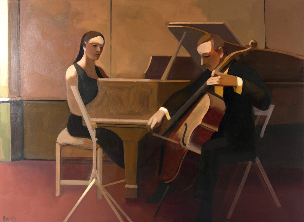 "James Weeks (1922-1998), ""Cello Sonata, 1966-1968,"" acrylic on canvas, sold for $37,200."