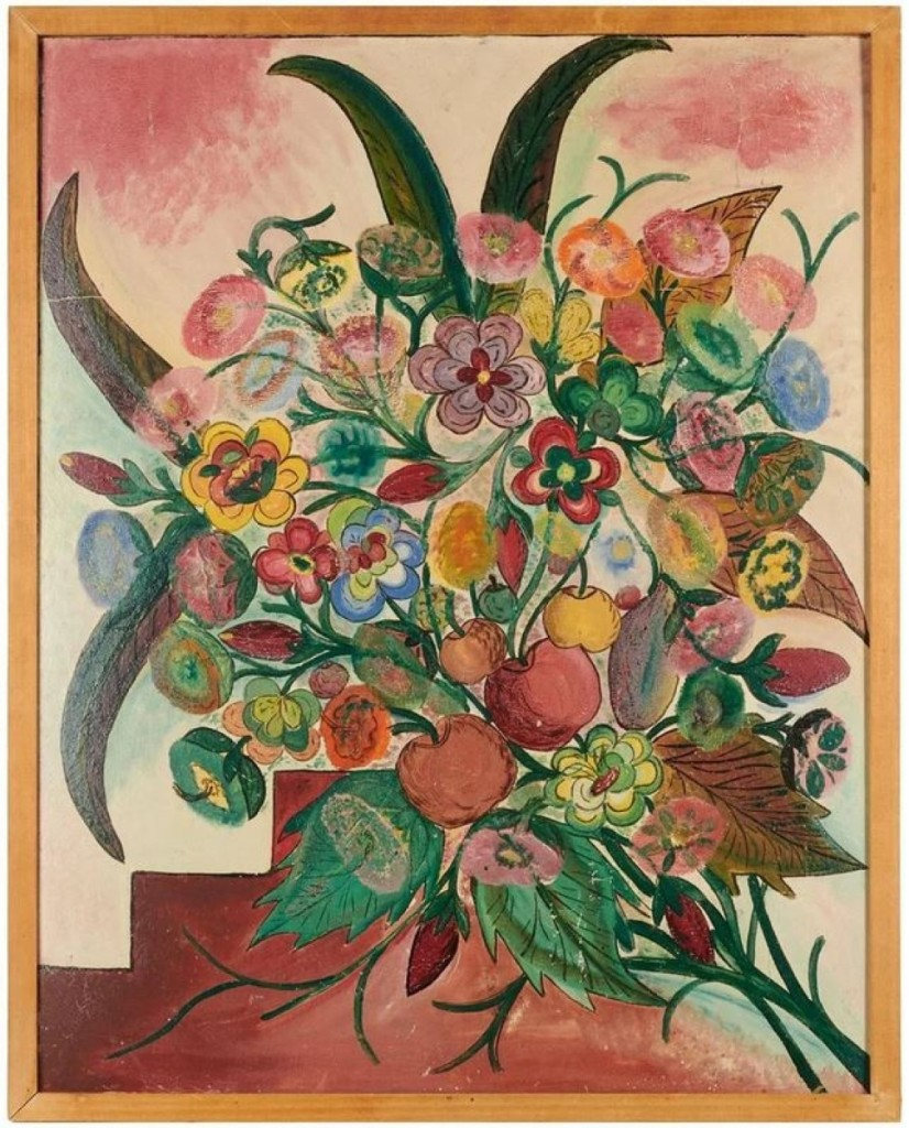 """One of the top lots in the sale was this Hector Hyppolite (1894-1948) oil on cardboard, 28 by 22 inches, titled """"Nature Morte."""" It brought $32,500. The work came from the collection of Robert D. Graff and was exhibited at the American British Art Center, N.Y."""