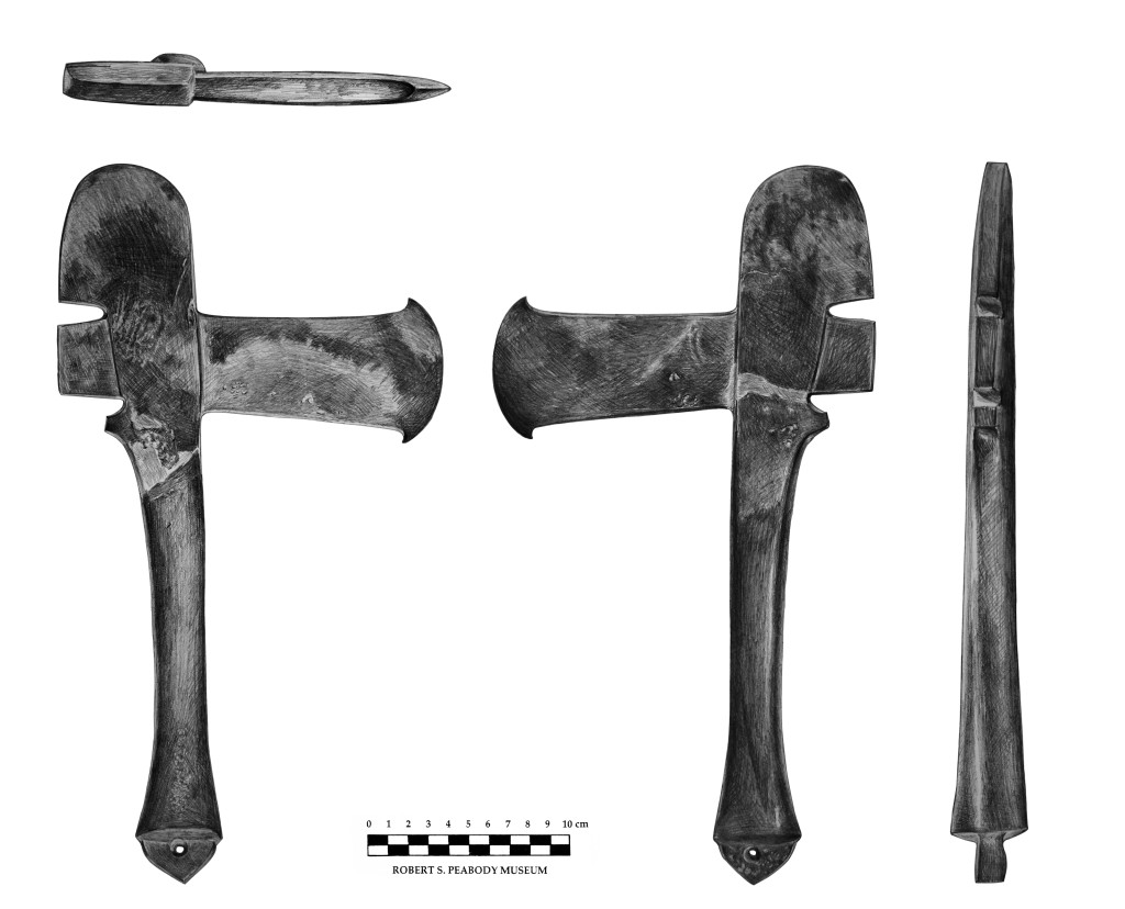 Drawing of the recovered axe. John Bergman-McCool, Peabody Institute illustration