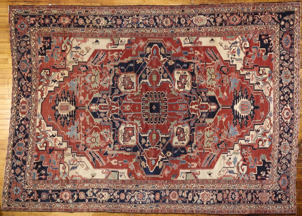 A Nineteenth Century Serapi Oriental carpet measured 15 feet 8 inches by 11 feet 6 inches and brought $9,063.