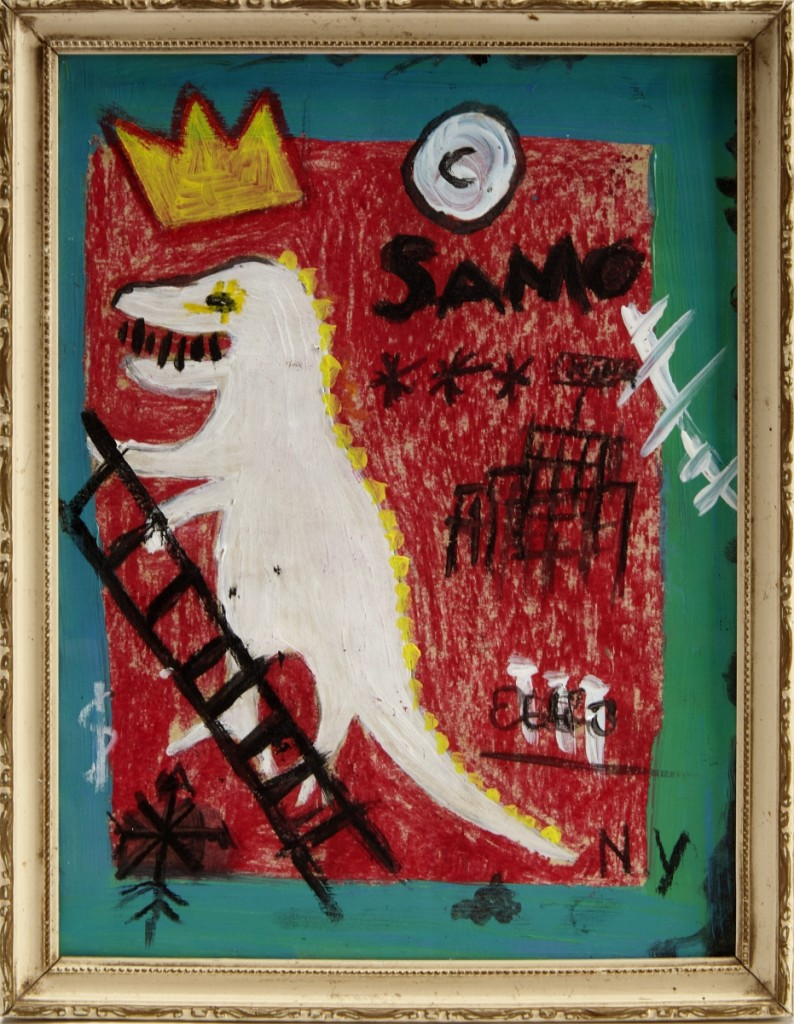 Unauthenticated by the gallery, what was cataloged as a Jean-Michel Basquiat oil stick on paper work from 1982, 10¼ by 8 inches, was purchased for $24,375.