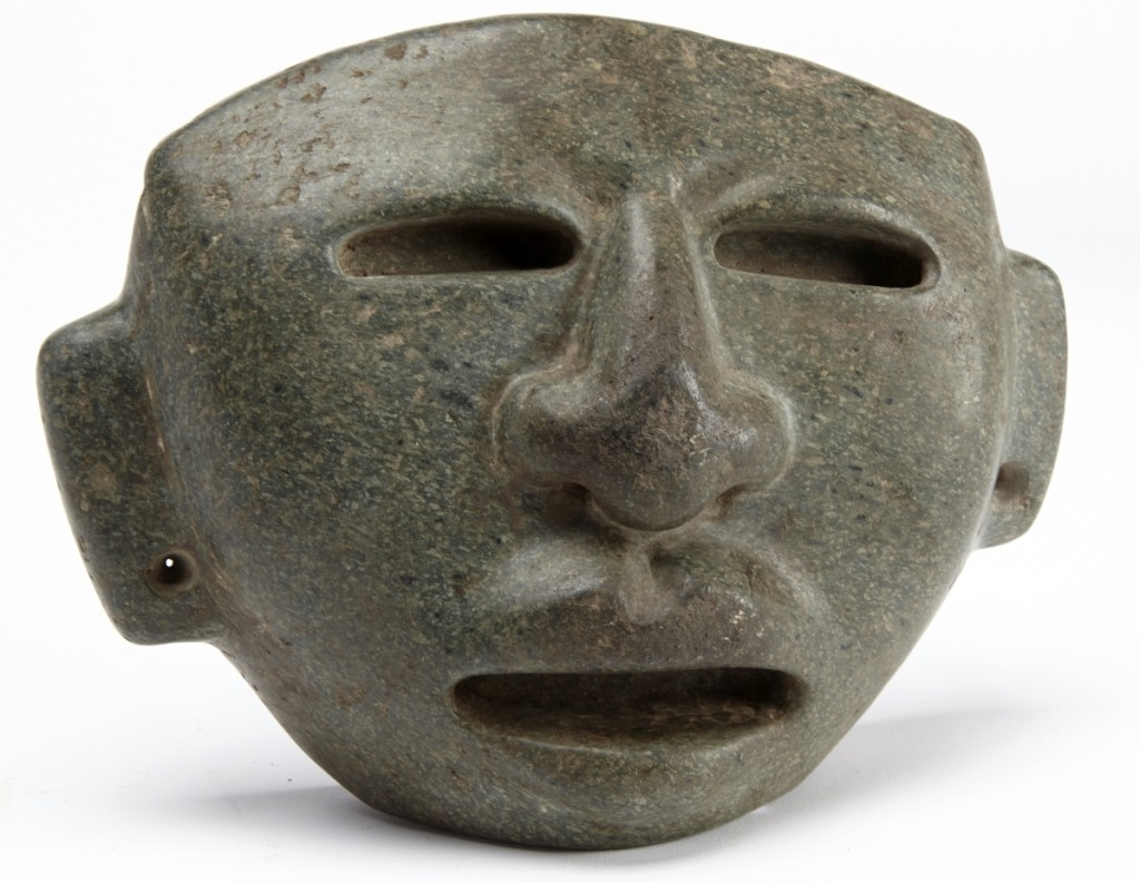 A Mayan carved stone mask that was believed to be early nearly tripled its high estimate to earn $13,750.