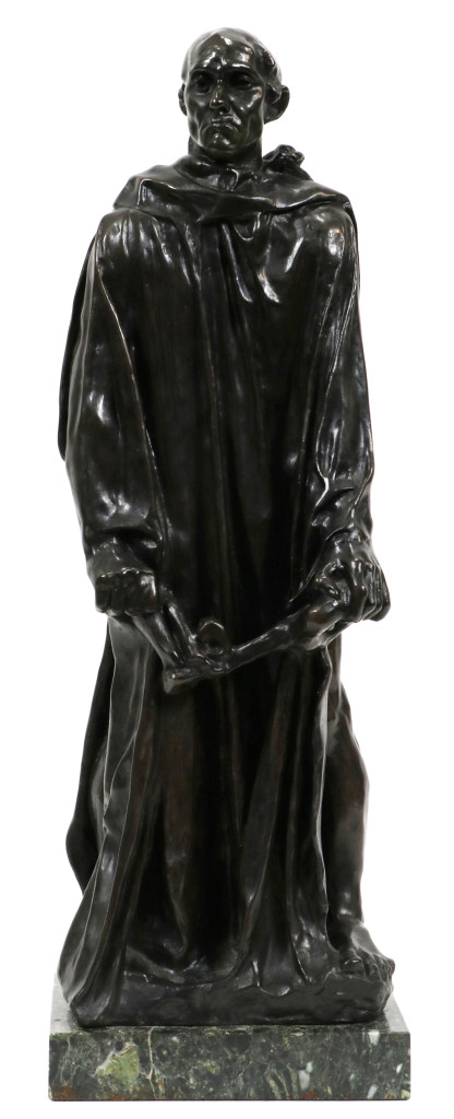 """The top lot of the three-day sale was Schweizer's """"Burgher of Calais (Jean D'Aire) by Ruguste Rodin, which a California collector bought for $34,199 ($30/50,000)."""