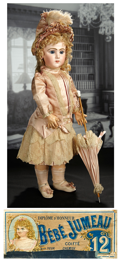 This rare 26-inch French bisque art character, 225, Jumeau, doll, dressed in a couturier costume with a parasol, in pristine unplayed with condition, and preserved in original box with unique color-tinted label, went to $113,500, with lots of cheering and clapping from the audience as it sold inhouse.