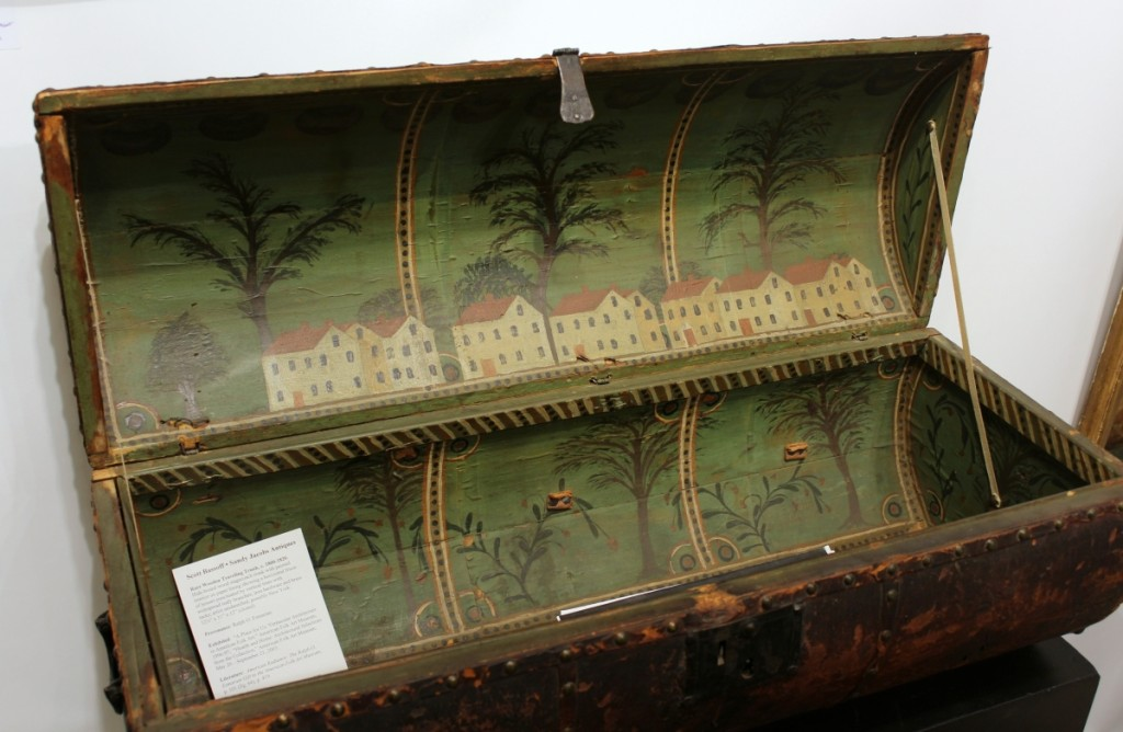 Sandy Jacobs had this wooden traveling trunk with painted-paper interior that had been in the Ralph Esmerian collection. Scott Bassoff, Sandy Jacobs Antiques, Swampscott, Mass.