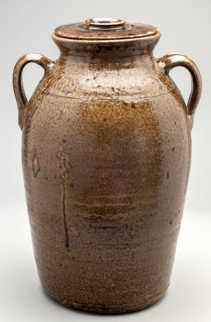 Churn, Crawford County, Ga., circa 1890. Stoneware with dripped alkaline glaze; 18 by 12½ inches. Georgia Museum of Art, University of Georgia; gift of Helen Plymale and family.