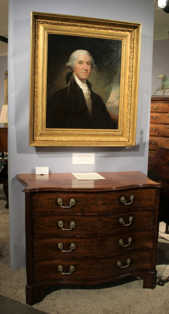 Gary Sergeant had this mid-Nineteenth Century portrait of George Washington painted by an artist after Gilbert Stuart's portrait that was commissioned by Samuel Vaughan. It looked right at home above a George III serpentine mahogany chest. G. Sergeant Antiques, Woodbury, Conn.