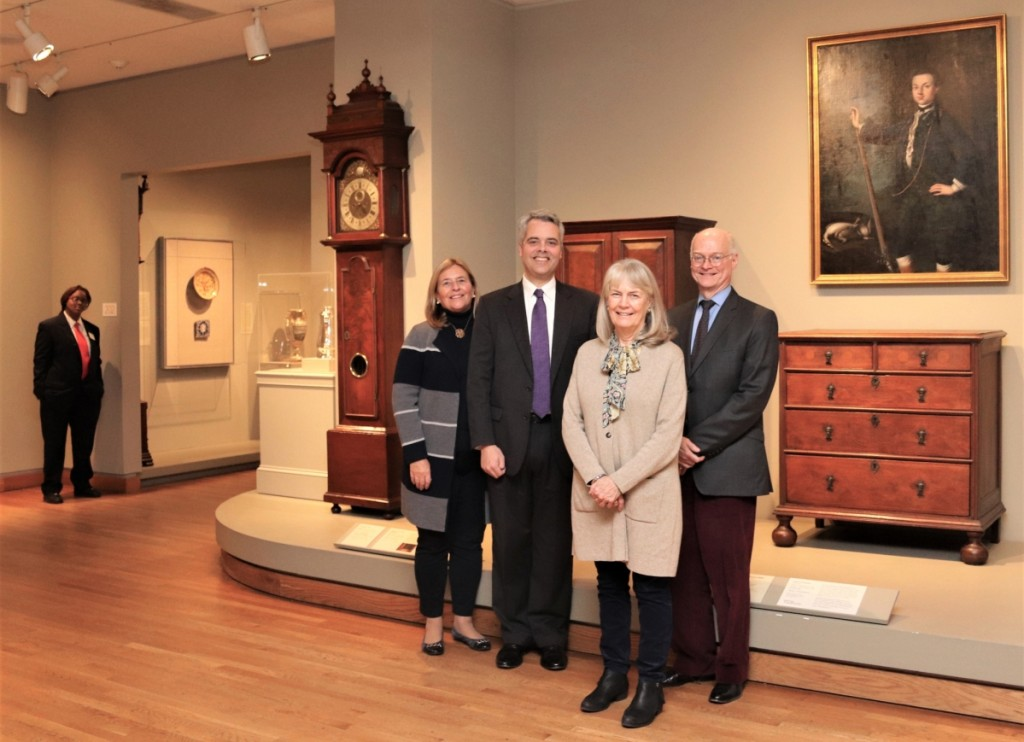 The Dietrich American Foundation assembled a team of scholars to produce In Pursuit of History: A Lifetime Collecting Colonial American Art and Artifacts and its companion exhibition, on view at the Philadelphia Museum of Art from February 1 through June 7. In the museum's galleries are, center, from left, Dietrich American Foundation curator Deborah Rebuck; foundation president H. Richard Dietrich III; Kathleen A. Foster, Robert L. McNeil Jr. senior curator of American Art and director of the Center for American Art at the PMA; and David L. Barquist, the museum's H. Richard Dietrich Jr curator of American decorative arts.
