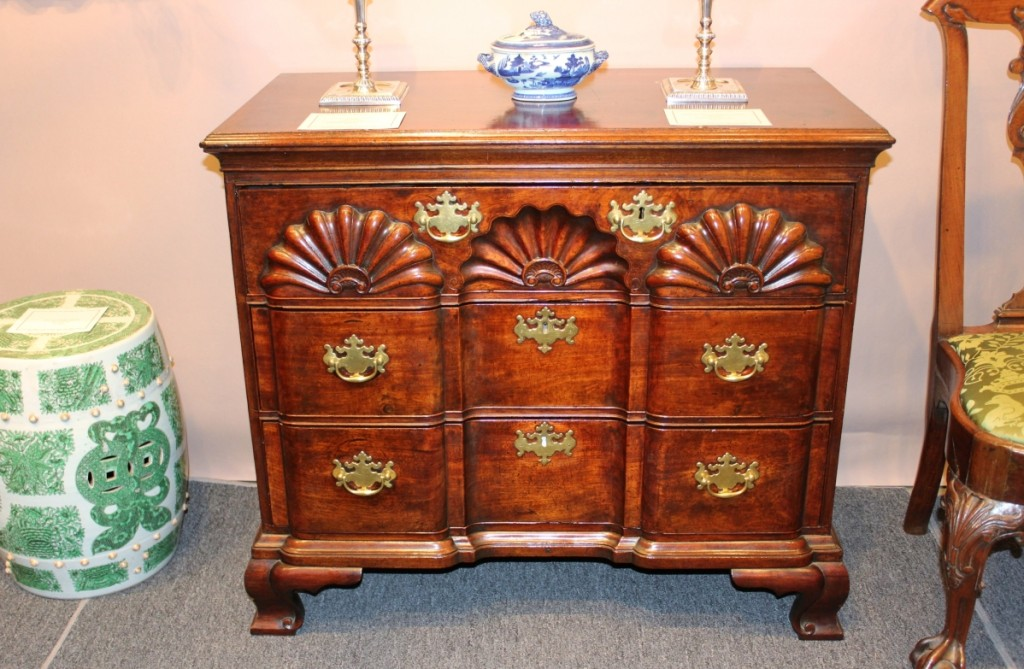 This Rhode Island Chippendale block and shell-carved chest had restoration and was with James M. Kilvington, Greenville, Del.