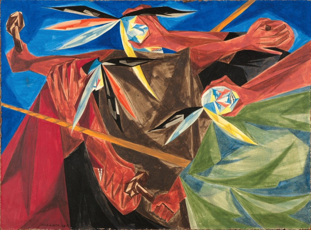 """""""Rally Mohawks! Bring out your axes, and tell King George we'll pay no taxes on his foreign tea... — a song of 1773"""" by Jacob Lawrence, Panel 3, 1955, from """"Struggle: From the History of the American People,"""" 1954–56. Egg tempera on hardboard. Collection of Harvey and Harvey-Ann Ross. ©The Jacob and Gwendolyn Knight Lawrence Foundation, Seattle/Artists Rights Society (ARS), New York. Photography by Bob Packert/PEM."""