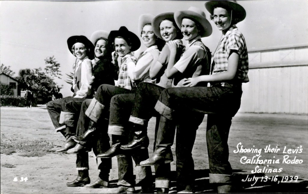 """Showing their Levi's"" postcard from the California Rodeo, Salinas (July 13–16, 1939), 1939. Levi Strauss & Co. Archives."