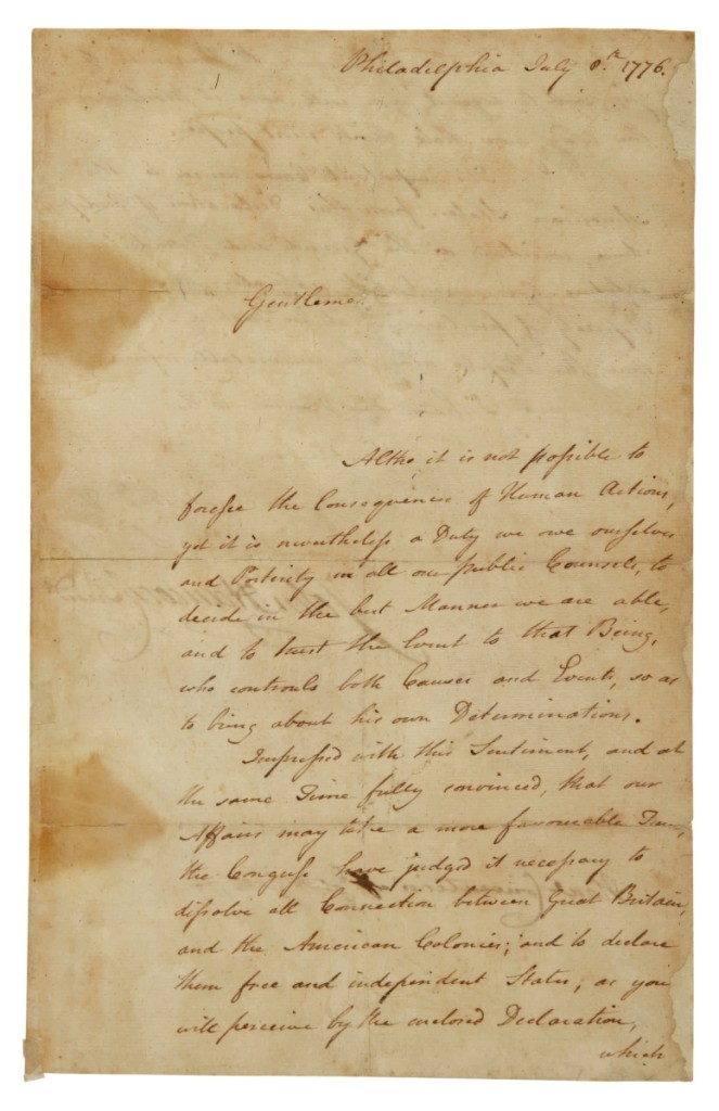 The top lot of any lot sold by Sotheby's during Americana Week was this John Hancock signed manuscript letter. Manuscript dealer, Seth Kaller, bought it with a client partner for inventory for $1,040,000 ($600/800,000) (Printed & Manuscript Americana).