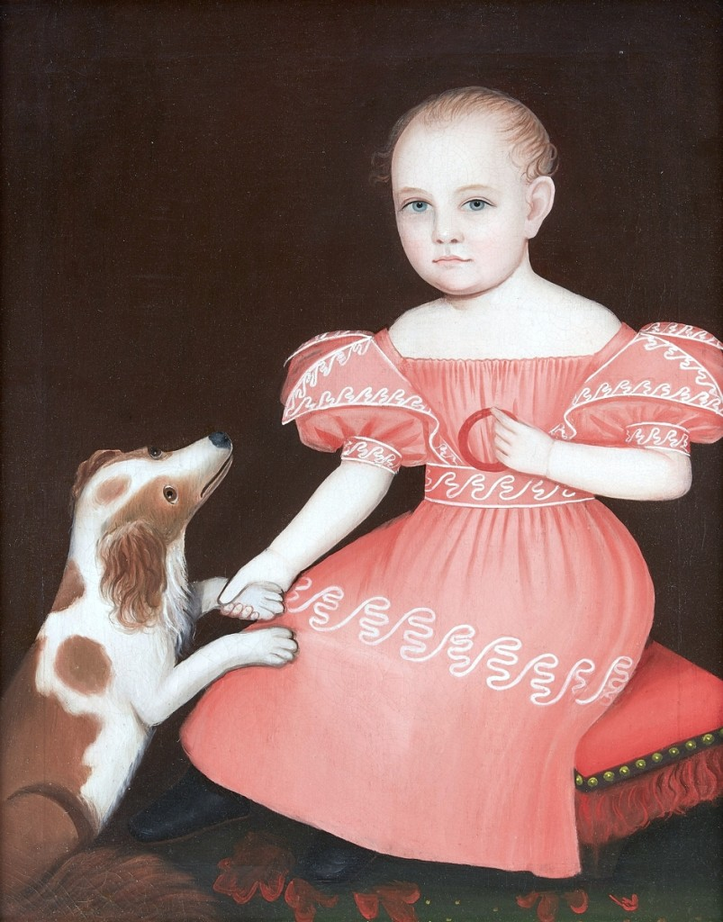 The top lot in the various owners sale of furniture, folk art, silver, Chinese export and prints was this sweet portrait of a seated child with dog by Ammi Phillips private collectors in the room took home for $250,000 ($200/300,000).