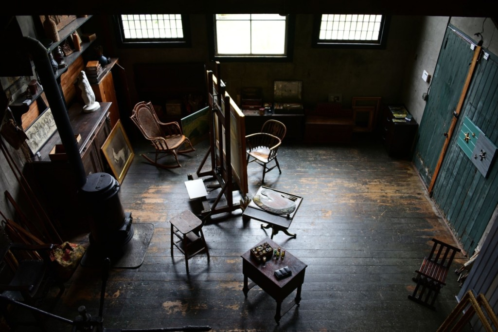 A bird's-eye view of J. Alden Weir's studio. Xiomáro shot this by climbing up on a water tower that is closed to the public.   He notes that the workspace is virtually intact since Weir died in 1919.