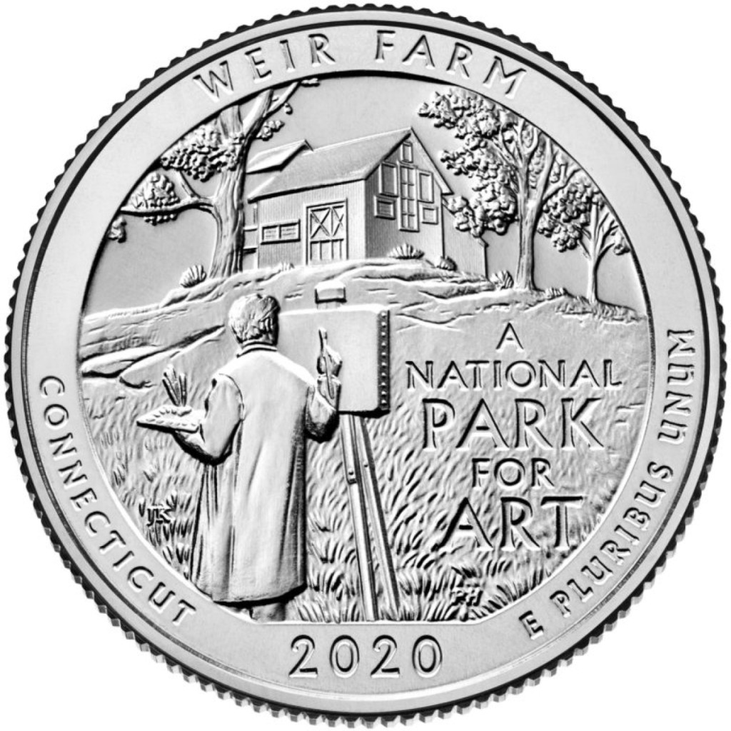 "To be released in April, 2020 as part of the US Mint's ""America the Beautiful"" series, Connecticut's next state coin will feature it's first National Park, Weir Farm."