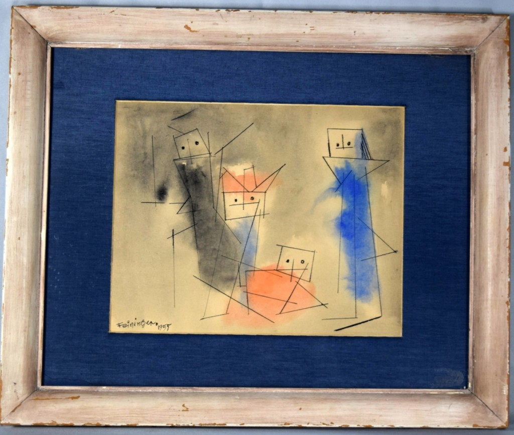 The highest priced item in the sale was a 1955 watercolor and ink by Lyonel Feininger. It was painted when the artist was 84 years old and it sold for $8,400 to Kevin Bruneau and Travis Landry of Bruneau & Co. Auctioneers.