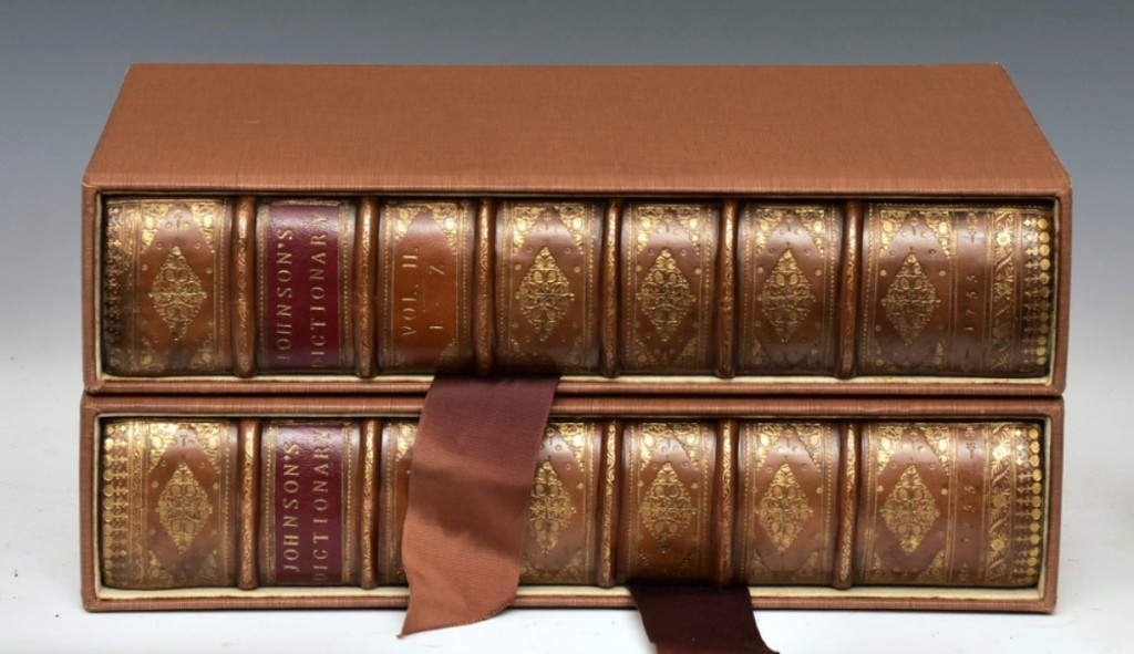 The two-volume set, A Dictionary Of The English Language by Samuel Johnson, printed by W. Strahan for J.P. Knapton, London, 1755, was titled Johnson's Dictionary on the spines of the leather-bound volumes housed in a two-slip box. It sold at $9,000.