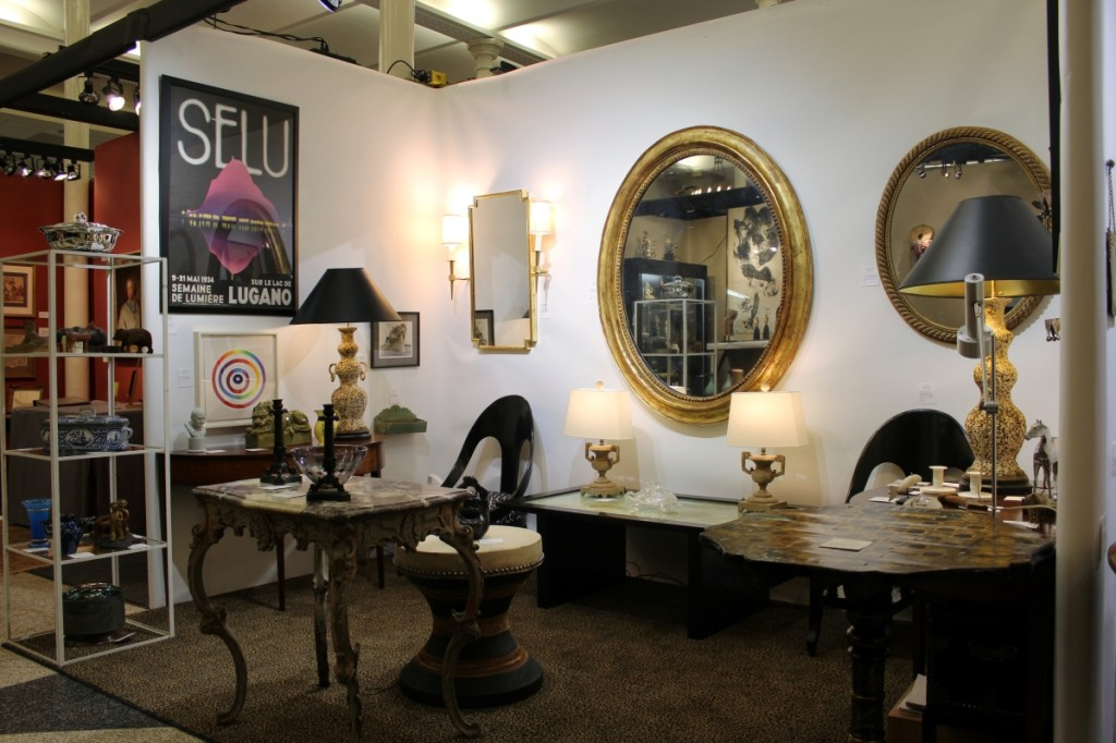 An interesting, eclectic mix of things drew interest at Andrew Spindler Antiques & Design, Essex, Mass., that included a compelling trio of giltwood mirrors that ranged from Nineteenth Century French rope twist to French oval to Twentieth Century geometric.