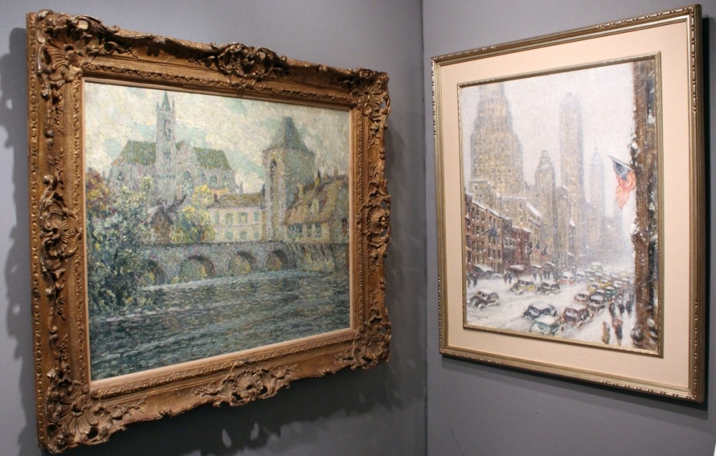 """Left, """"L'Eglise et le Pont"""" (Moret sur Loing), 1916, by Henri Le Sidaner (1862-1939), oil on canvas, 25 by 32½ inches; and """"57th Street"""" by Guy Carleton Wiggins (American, 1883-1962), oil on canvas, 30 by 25 inches. Schillay Fine Art, New York City"""