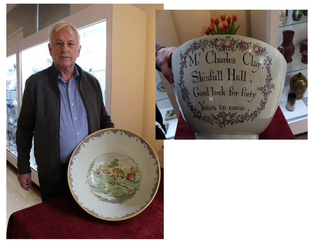 """Martyn Edgell with large Staffordshire bowl, a clear showstopper, which was purchased by Chipstone. A presentation piece, it measures 19 inches across, dated circa 1800 and is illustrated inside with a farm scene. """"The show gets better year by year and having it in those rooms is so much better than the hall before,"""" said Edgell. """"I sold my mocha ware particularly well and sold antislavery ceramics to three separate museums in the United States, roll on 2021."""""""