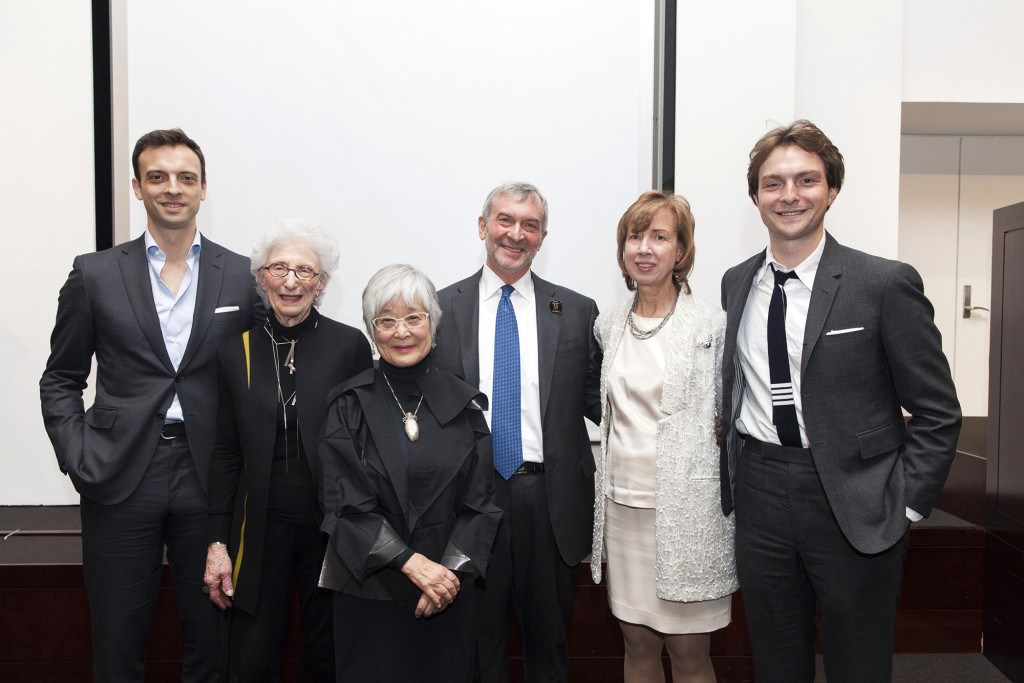 The recipients of the 2020 Eric M Wunsch Award for Excellence in the American Arts, presented by the Wunsch Americana Foundation, were Laura Beach, Lita Solis-Cohen and Mira Nakashima. From left, Eric Wunsch, Lita Solis-Cohen, Mira Nakashima, Peter Wunsch, Laura Beach and Noah Wunsch. Photo courtesy Christie's.