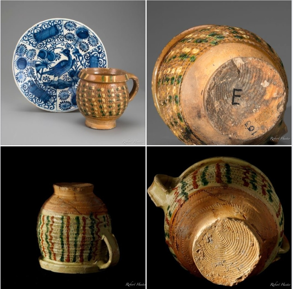 """Ceramics scholar and dealer Rob Hunter showcased some of the treasures he picked up at the show on his Facebook page, including the rare 1630s-40s Portuguese small dish, upper left, and rare Weser ware handled jar with rouletted slip decoration. """"The Ceramics Fair was fantastic! I could have spent days going through all the materials,"""" he said."""