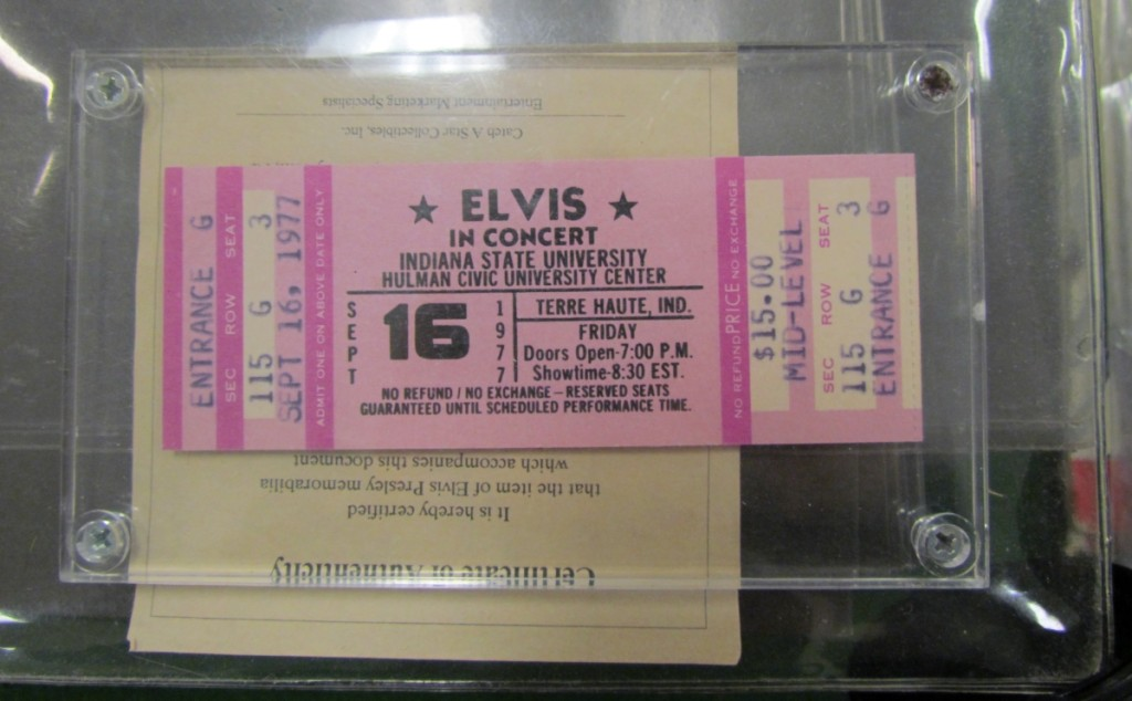 The poigancy revealed in these concert tickets for a September 16, 1977, Elvis concert lies in the musician's death exactly one month before — August 16, 1977.