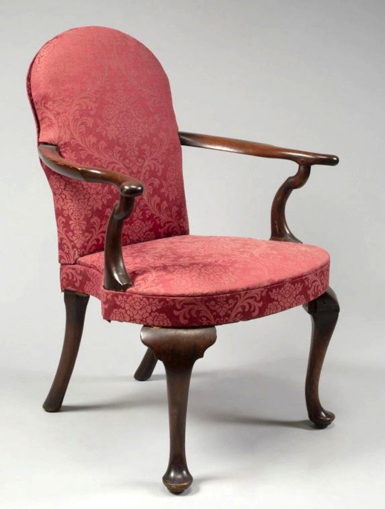 The top lot of the sale was this Queen Anne low back upholstered open armchair that Keno said was likely from New York. It brought above estimate at $87,500. The mahogany chair relates most closely to a pair at the Metropolitan Museum of Art, and another is housed at Winterthur. Keno called it one of the most important mid-Eighteenth Century New York chairs known.