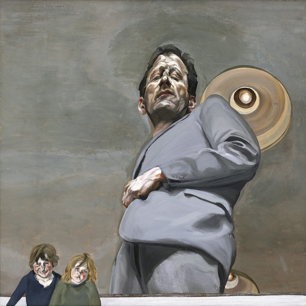 """""""Reflection with Two Children (Self‑portrait),"""" 1965. Oil on canvas. Collection of Museo Nacional Thyssen‑Bornemisza Madrid. Image ©The Lucian Freud Archive / Bridgeman Images. Courtesy Museum of Fine Arts, Boston."""