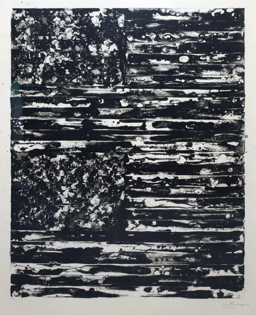 """Jasper Johns' """"Two Flags"""" got the sale off to a """"phenomenal"""" start, making more than four times its low estimate to finish at $21,600 ($ ,000)."""