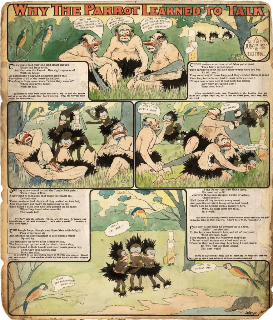 "Winsor McCay, original Jungle Imps art for 1903 Sunday comic strip, ""Why the Parrot Learned to Talk,"" 19¾ by 23-  inches, mounted on illustration board, went out at $49,973."