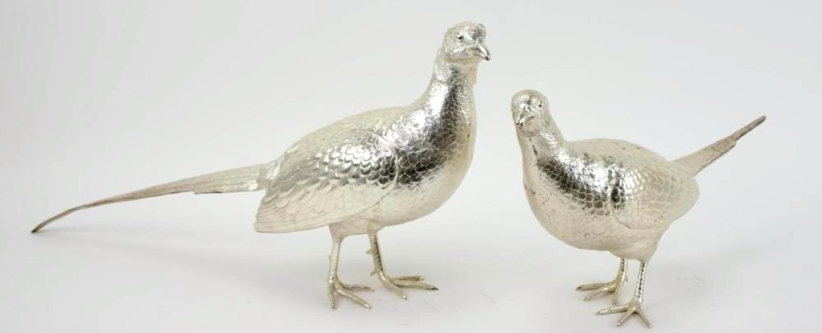 2064A Asprey sterling silver pheasants