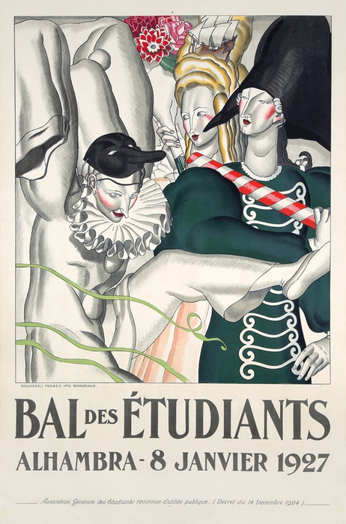 "Jean Dupas caught collectors' attention with this impressive Art Deco work, ""Bal des Étudiants / Alhambra-8 Janvier 1927,"" which earned $43,200."