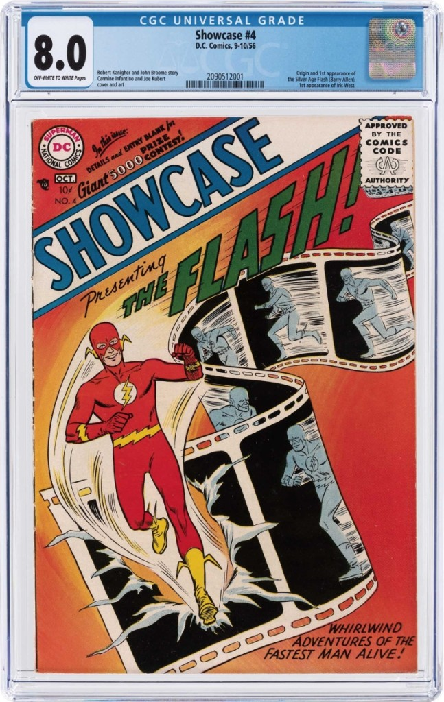 Showcase #4, Sept./Oct. 1956, CGC-graded 8.0 VF, featured origin and first appearance of the Silver Age Flash (Barry Allen) fetched $75,284