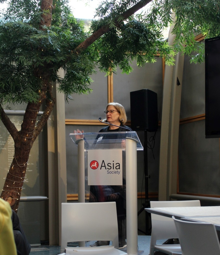 Asia Week New York executive director, Margaret Tao, giving the opening remarks at the press breakfast on Wednesday, March 11.        —Antiques and The Arts Weekly photo
