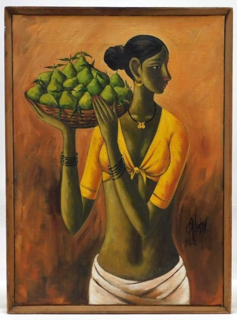 "Oil on canvas by B. Prabha (1933-2001), titled ""Woman with a Pear Basket"", of an Indian woman with her hair tied back and long limbs supporting a basket of fruit realized $11,875."