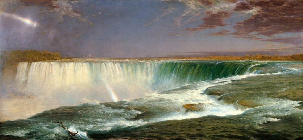 """Niagara"" by Frederic Edwin Church, 1857. Oil on canvas, 40 by 90½ inches. National Gallery of Art, Corcoran Collection, museum purchase, Gallery Fund."