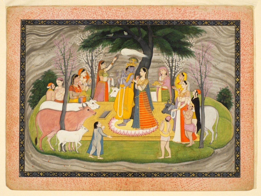 """Krishna courting Radha with his skillful fluting,"" Guler, Pahari Hills, India, circa 1780, opaque watercolor with gold on paper, 9¼ by 12-  inches, Courtesy Oliver Forge & Brendan Lynch, Ltd., London."