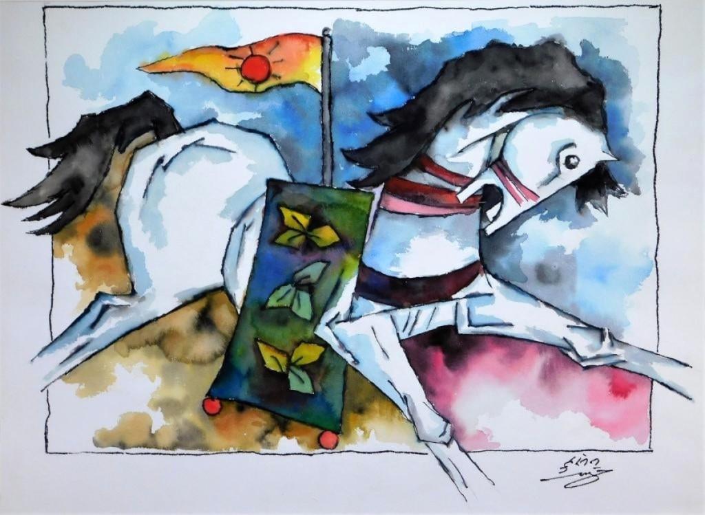 "Watercolor painting by Maqbool Hussain (Indian, 1915-2011), titled ""Raging Horse,"" of a leaping white horse with open mouth draped with a green saddle blanket, sold for $16,250."