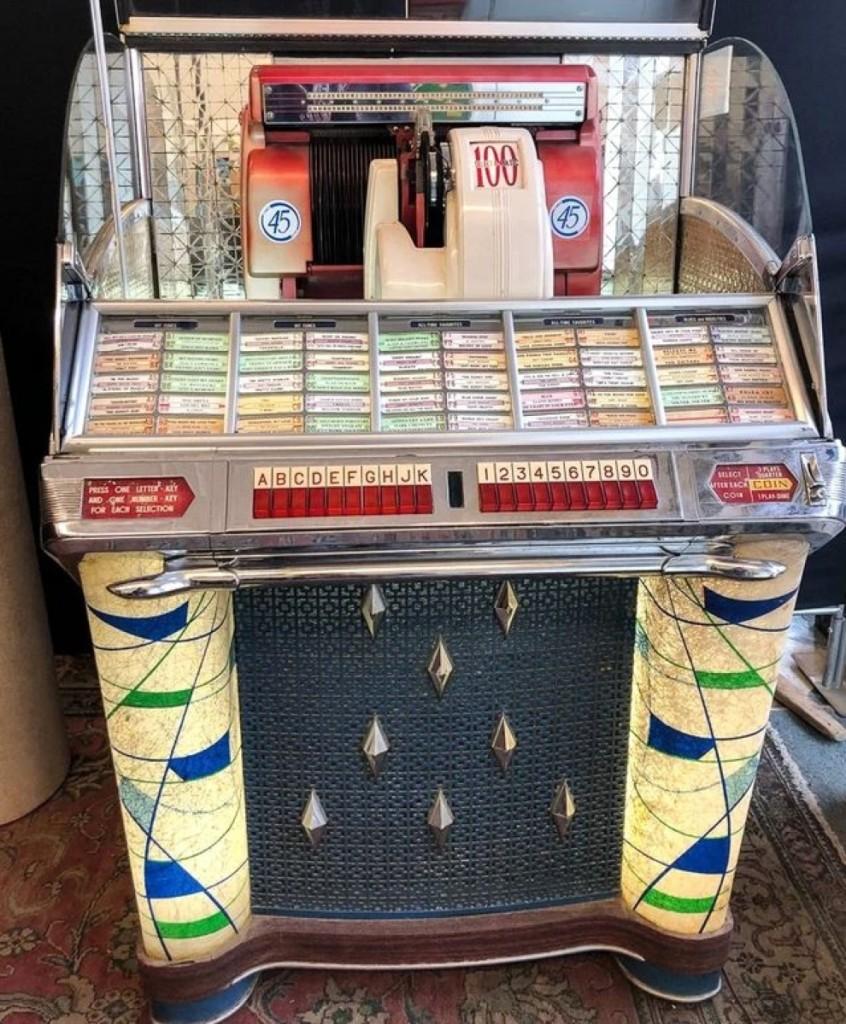 A 1953 Seeburg 100 select-o-matic jukebox took $1,080 after five bids.