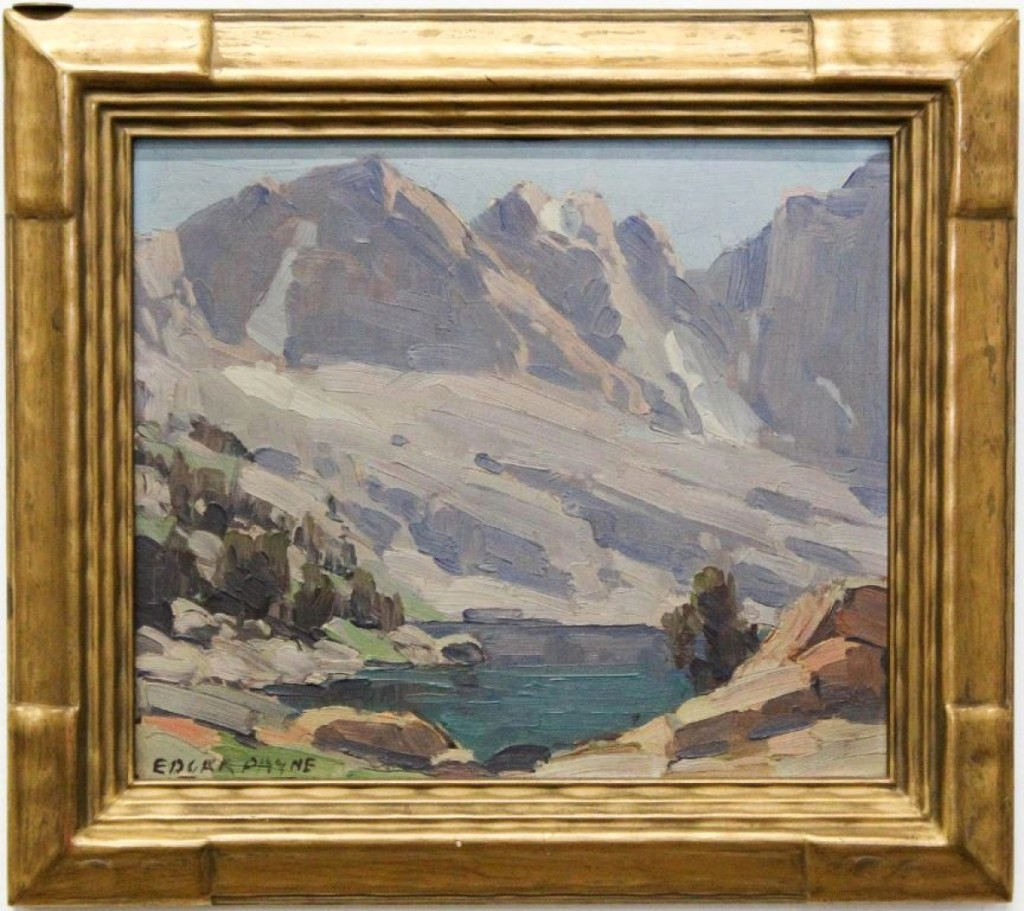 Merrill's top lot was found in this oil on board painting by Edgar Alwin Payne (American, 1883-1947), which brought $6,000. The work features a Sierra Nevada mountain landscape painting and measures 10 by 12 inches.
