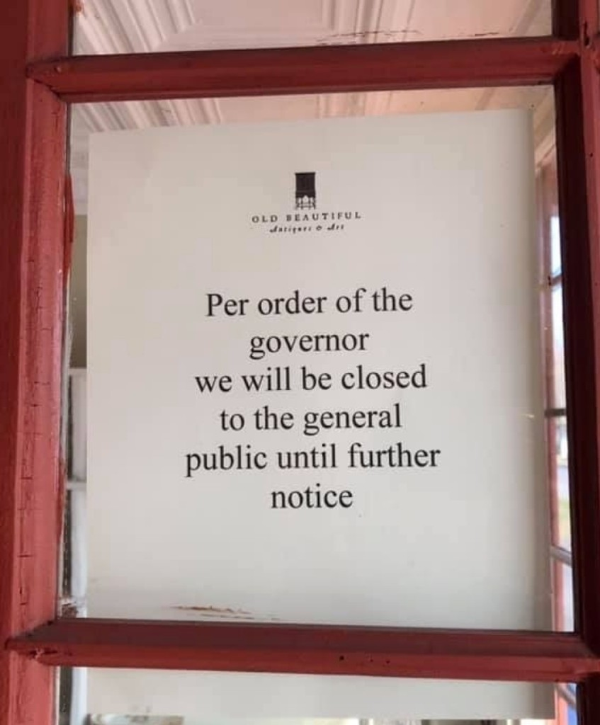 """David Perrelli, owner of Old Beautiful, Clinton, Conn., posted this sign to his gallery door. He wrote, """"This is not a sign I ever imagined myself making."""""""