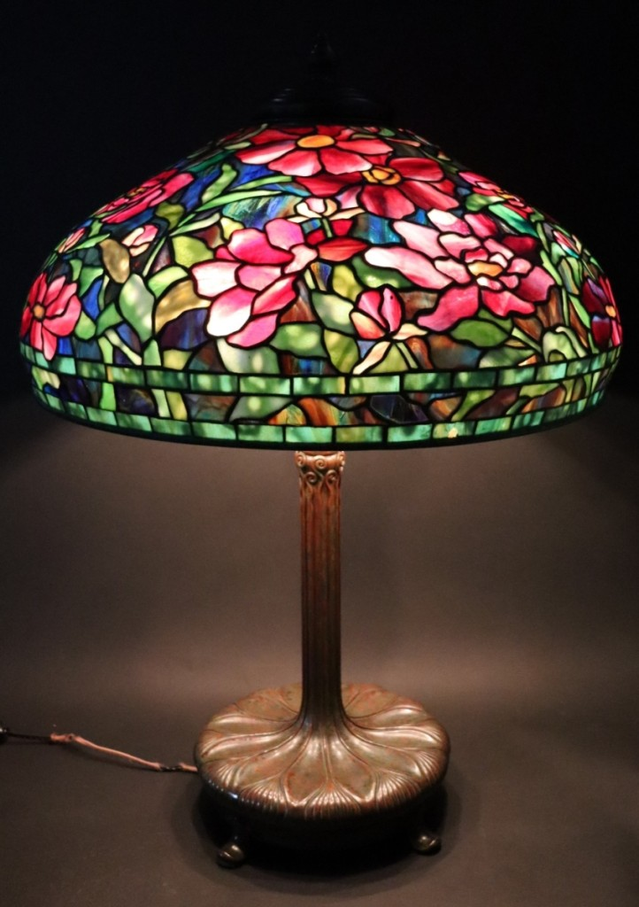 Bringing $125,000 was a vivid Tiffany Peony table lamp with a 14-inch shade.