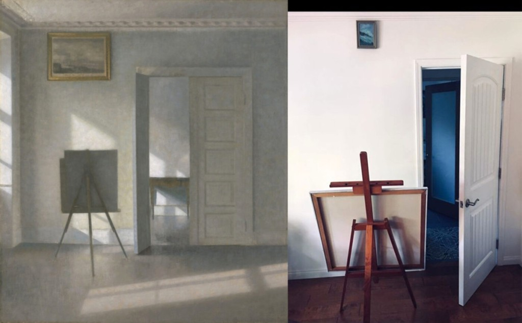 """Interior with an Easel, Bredgade 25,"" 1912, Vilhelm Hammershøi. Oil on canvas, 31 by 27¾ inches. The J. Paul Getty Museum. Recreation via Facebook DM by Tracy McKaskle with picture, pins, easel and unpainted canvas."
